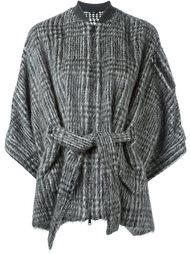 пиджак с поясом в ломаную клетку  Brunello Cucinelli