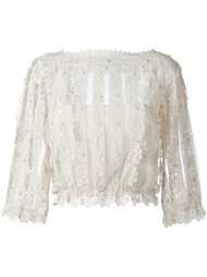 boat neck see-through blouse Red Valentino