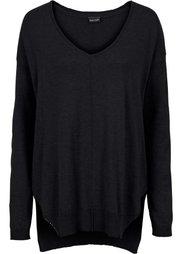 Пуловер с V-образным вырезом (темно-синий) Bonprix