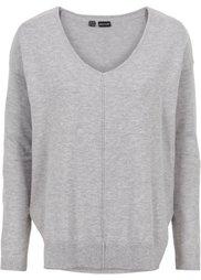 Пуловер с V-образным вырезом (черный) Bonprix
