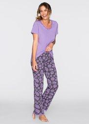 Пижама (сиреневый/шиферно-серый с прин) Bonprix
