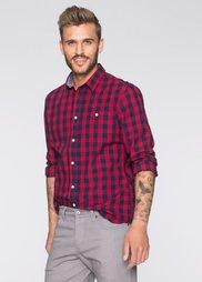 Рубашка Slim Fit с длинным рукавом (темно-красный/темно-синий в кл) Bonprix
