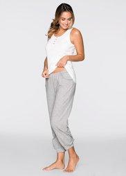 Пижама-капри (белый/светло-серый меланж) Bonprix