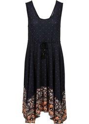 Платье с удлиненными краями (нежно-голубой с рисунком) Bonprix