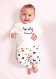 Для малышей: футболка из биохлопка с длинным рукавом (2 шт.), Размеры  56/62-104/110 (цвет белой шерсти/фуксия) Bonprix