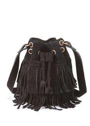Кожаная сумка-мешок с бахромой (бордовый) Bonprix