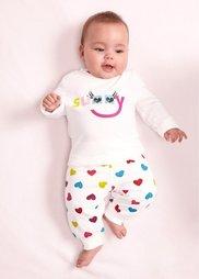 Мода для малышей: трикотажные штанишки из биохлопка (2 шт.), Размеры  56-110 (цвет белой шерсти/красная ягод) Bonprix