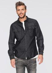Джинсовая рубашка Slim Fit с длинным рукавом (антрацитовый деним) Bonprix