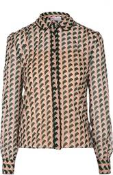 Шелковая блуза с контрастными отделкой и принтом REDVALENTINO