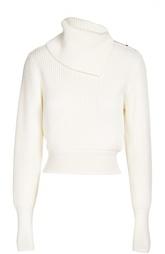 Шерстяной пуловер фактурной вязки с асимметричным воротником Alaia