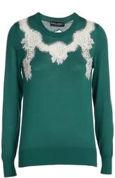 Шелковый пуловер прямого кроя с кружевной вставкой Dolce & Gabbana