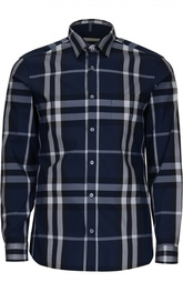 Рубашка в клетку из эластичного хлопка Burberry Brit