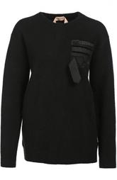Шерстяной удлиненный пуловер с декоративной отделкой No. 21