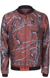 Шелковая куртка-бомбер с принтом Dolce & Gabbana