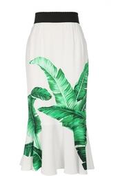 Юбка-годе с контрастным поясом и цветочным принтом Dolce & Gabbana