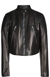 Укороченная кожаная куртка с декоративной отделкой Givenchy