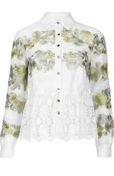 Блуза с кружевной баской и цветочной контрастной вышивкой Diane Von Furstenberg