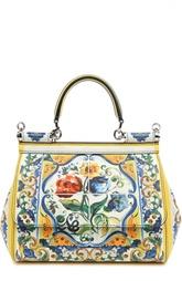 Маленькая сумка Sicily из кожи с принтом Dolce & Gabbana
