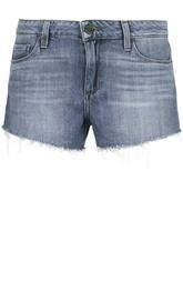 Джинсовые мини-шорты с бахромой Paige