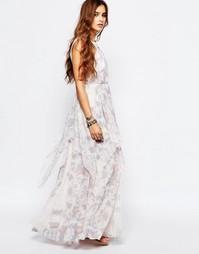 Кружевное платье макси с лямкой через шею Free People Ivory Tower