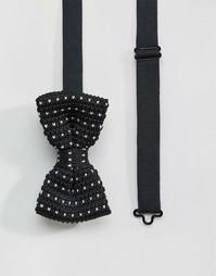 Черный вязаный галстук-бабочка в футляре 7X - Черный