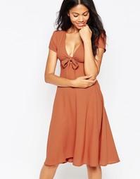 Платье с бантом спереди Love - Рыжий