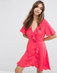 Тканое чайное платье мини с запахом спереди ASOS - Розовый
