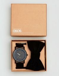 Черные часы и галстук‑бабочка ASOS - Черный