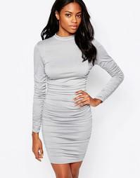 Облегающее платье с длинными рукавами и оборкой AX Paris - Серый
