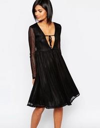 Кружевное приталенное платье миди с глубоким декольте Daisy Street