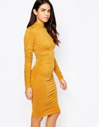 Облегающее платье с длинными рукавами и оборкой AX Paris - Горчичный