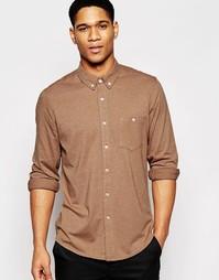 Бежевая трикотажная классическая рубашка с длинными рукавами ASOS