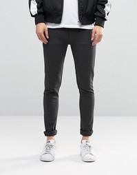 Темно-серые трикотажные супероблегающие джинсы ASOS - Угольный