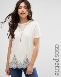 Удлиненная футболка с кружевом ASOS PETITE - Телесный