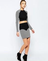 Мини-юбка с контрастным геометрическим принтом Hedonia Sella