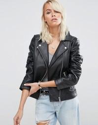 Кожаная байкерская куртка ASOS Ultimate - Черный