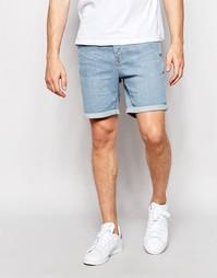 Джинсовые шорты слим с отворотами Only & Sons - Светло-голубой деним