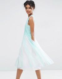 Платье миди со свободной сетчатой юбкой ASOS - Светло-голубой