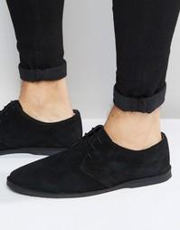 Замшевые туфли-дерби с контрастной окантовкой по краю ASOS - Черный
