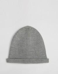 Серая шапка-бини с отворотом ASOS - Серый меланж