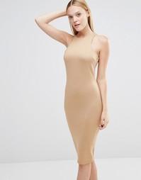 Платье миди с вырезом AX Paris - Кэмел