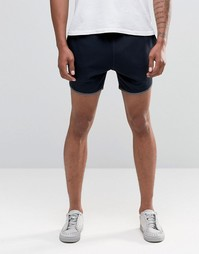Темно-синие шорты для бега с контрастной окантовкой ASOS
