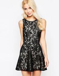 Кружевное короткое приталенное платье Jarlo - Черный