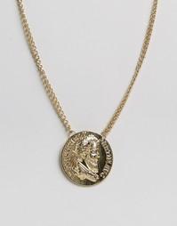 Золотистое ожерелье с oversize-монетой ASOS - Золотой