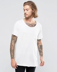 Фактурная супердлинная футболка с необработанными краями и карманом AS Asos