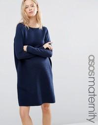 Вязаное платье‑джемпер ASOS - Темно-синий