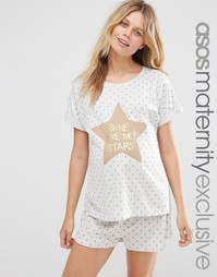 Пижама для беременных ASOS Maternity Shine Like The Stars - Oatmeal