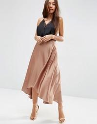 Атласная юбка миди с разрезами ASOS - Розовое дерево