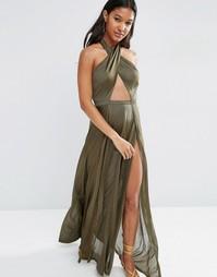 Трикотажное пляжное платье макси ASOS - Зеленый