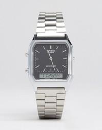 Аналоговые и цифровые часы серебристого цвета Casio AQ230A-1DS